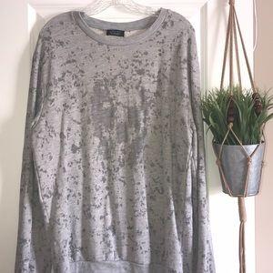 Zara Man gray 💀 skull 💀 distressed sweatshirt